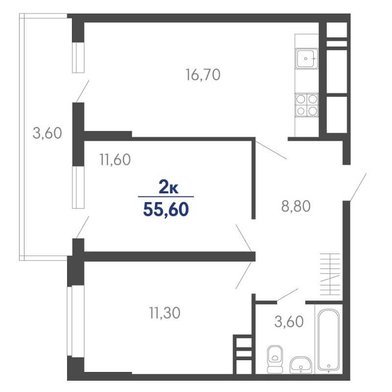 Планировка 2-к. кв., S = 55,60 / 22,90 м²