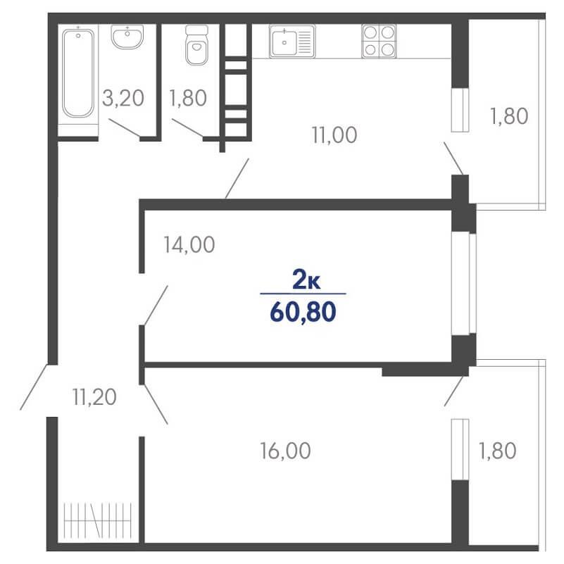 Планировка 2-к. кв., S = 60,80 / 30,00 м²