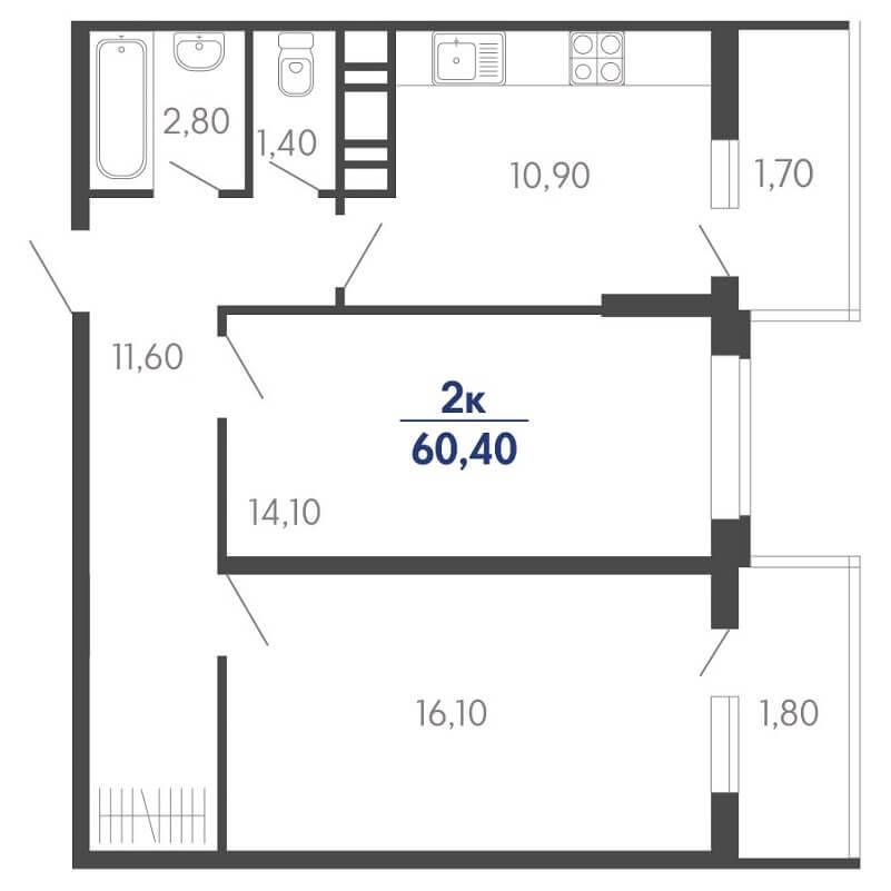 Планировка 2-к. кв., S = 60,40 / 30,20 м²