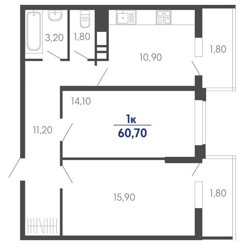 Планировка 2-к. кв., S = 60,70 / 30,00 м² Тип 2