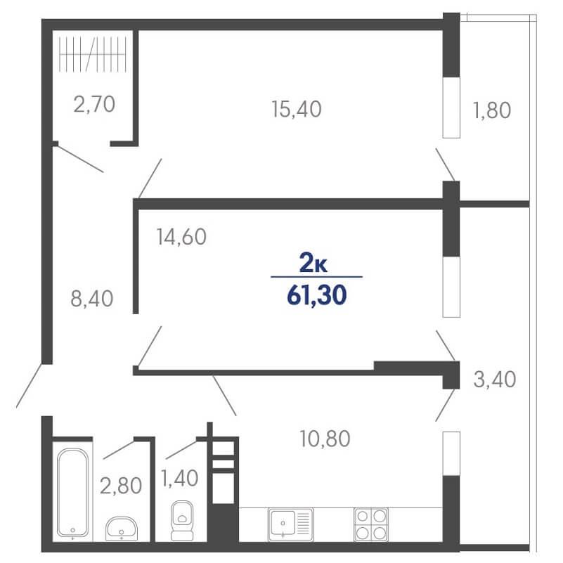 Планировка 2-к. кв., S = 61,30 / 30,00 м²