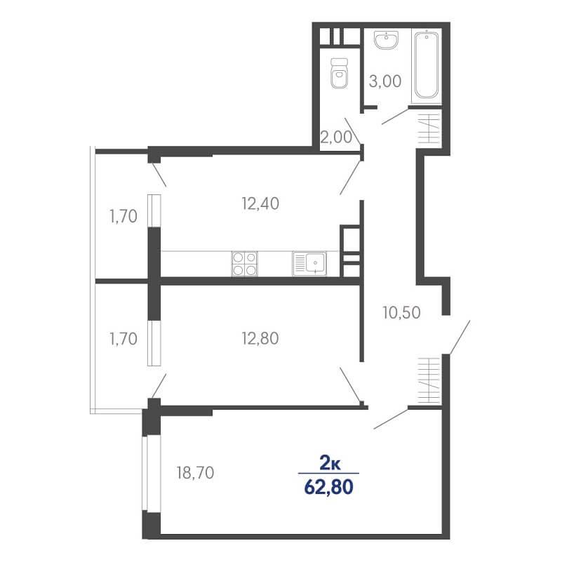Планировка 2-к. кв., S = 62,80 / 31,50 м²