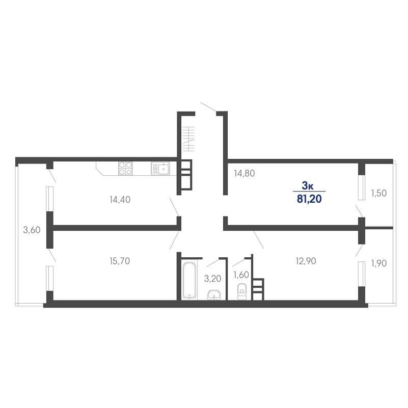 Планировка 3-к. кв., S = 81,20 / 43,40 м²