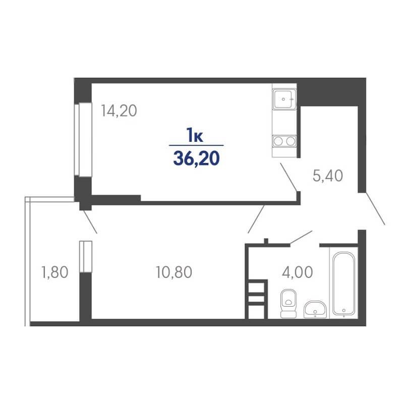 Планировка 1-к. кв., S = 36,20 / 10,80 м²