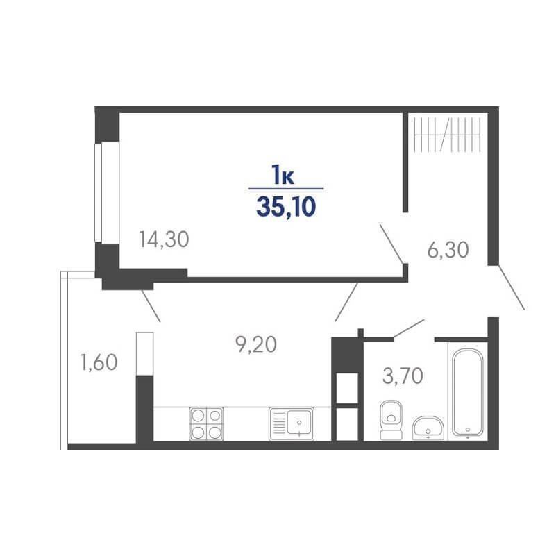 Планировка 1-к. кв., S = 35,10 / 14,30 м²
