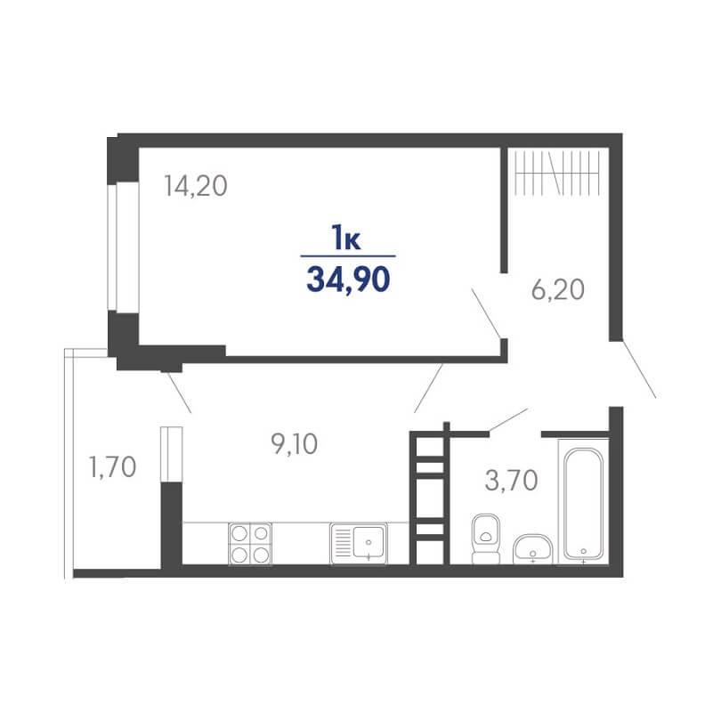 Планировка 1-к. кв., S = 34,90 / 14,20 м²
