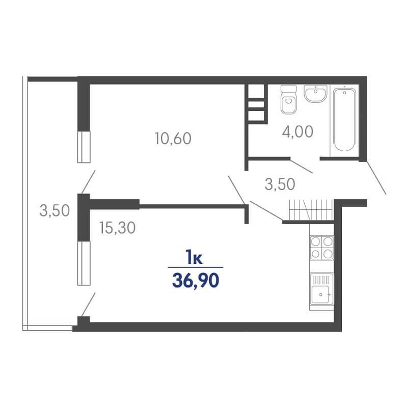 Планировка 1-к. кв., S = 36,90 / 10,60 м²