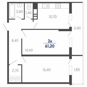 Купить квартиру ЖК Абрикосово в Краснодаре 2-к S = 61 м2