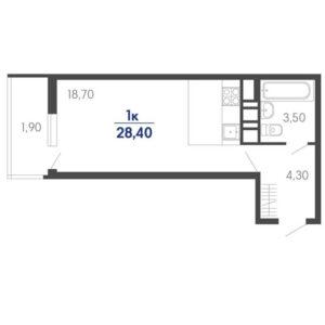 Планировка ЖК Абрикосово квартира студия S = 28,40 м2 Тип 3