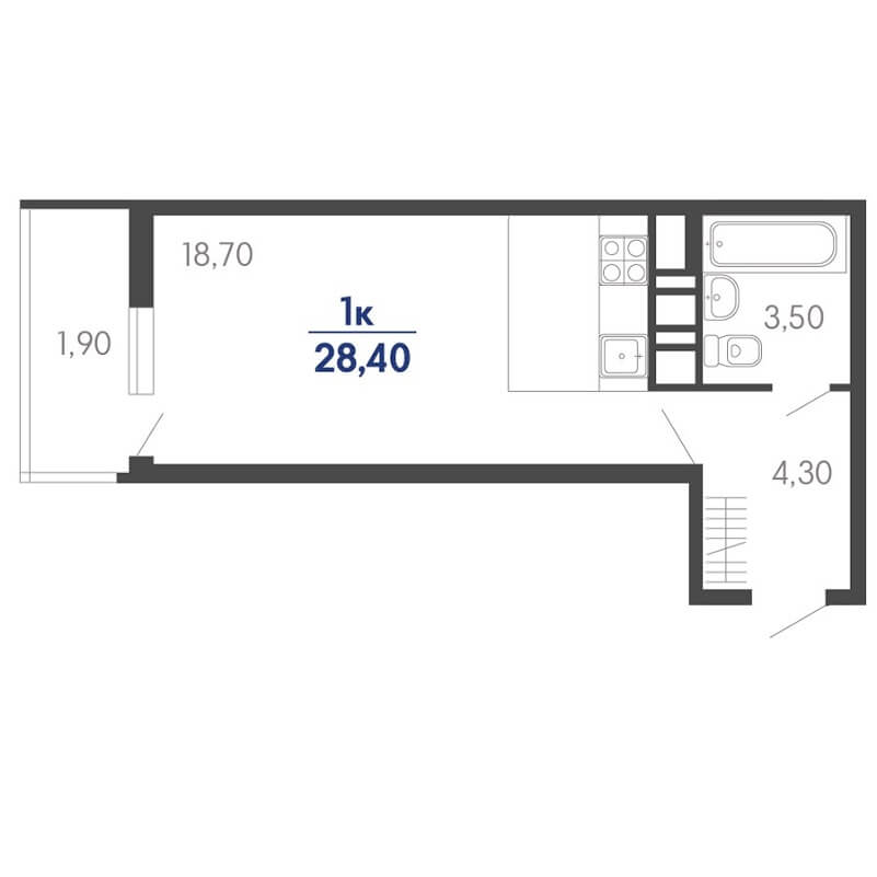 Планировка студии, S = 28,50 / 18,90 м²