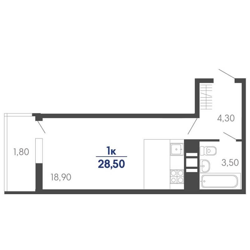 Планировка студии, S = 28,40 / 18,70 м²