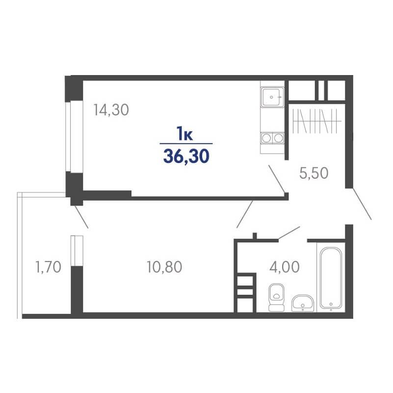 Планировка 1-к. кв., S = 36,30 / 10,80 м²