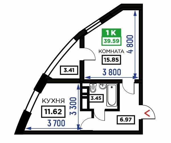 Планировка 1-к квартиры, S = 39,59 / 15,85 м²