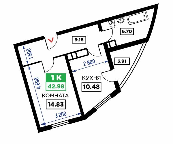 Планировка 1-к квартиры, S = 42,98 / 14,83 м²