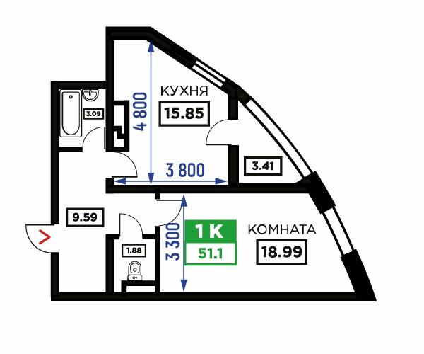 Планировка 1-к квартиры, S = 51,10 / 18,99 м²