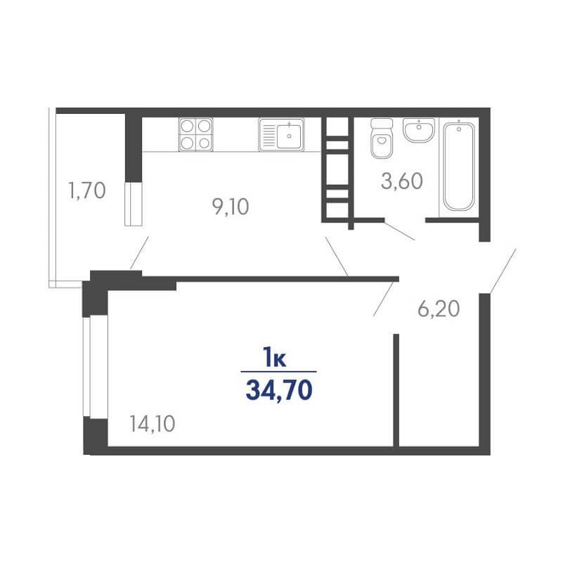 Планировка 1-к. кв., S = 34,70 / 14,10 м²