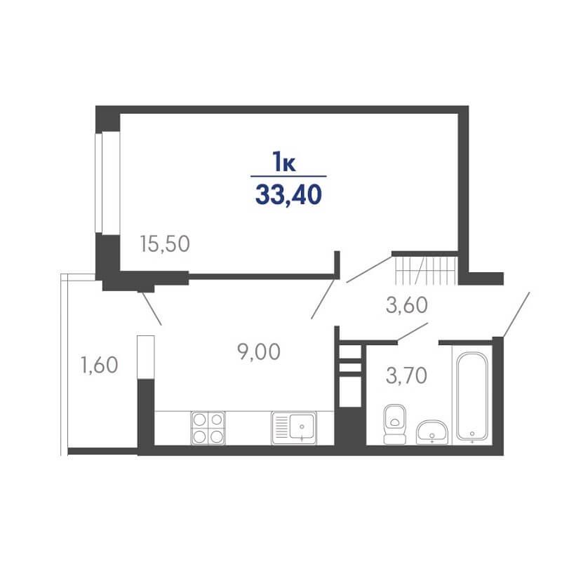 Планировка 1-к. кв., S = 33,40 / 15,50 м²