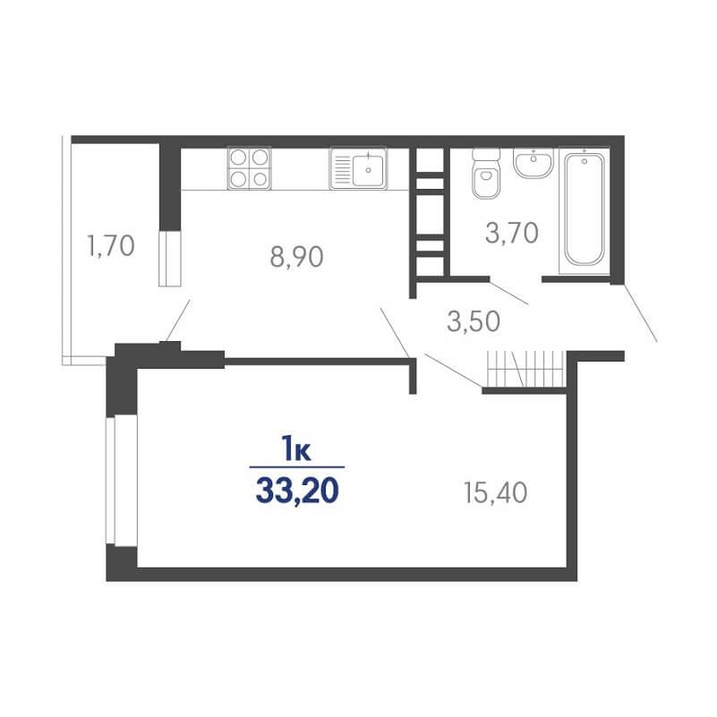 Планировка 1-к. кв., S = 33,20 / 15,40 м²