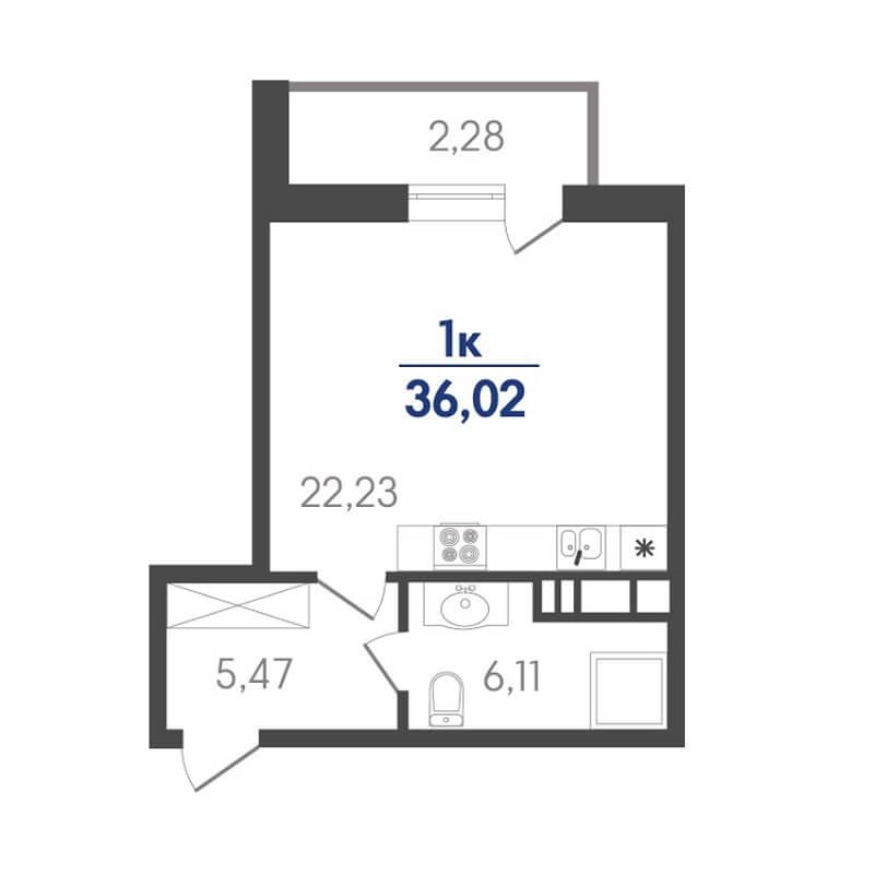 Планировка студии, S = 36,02 / 22,23 м²