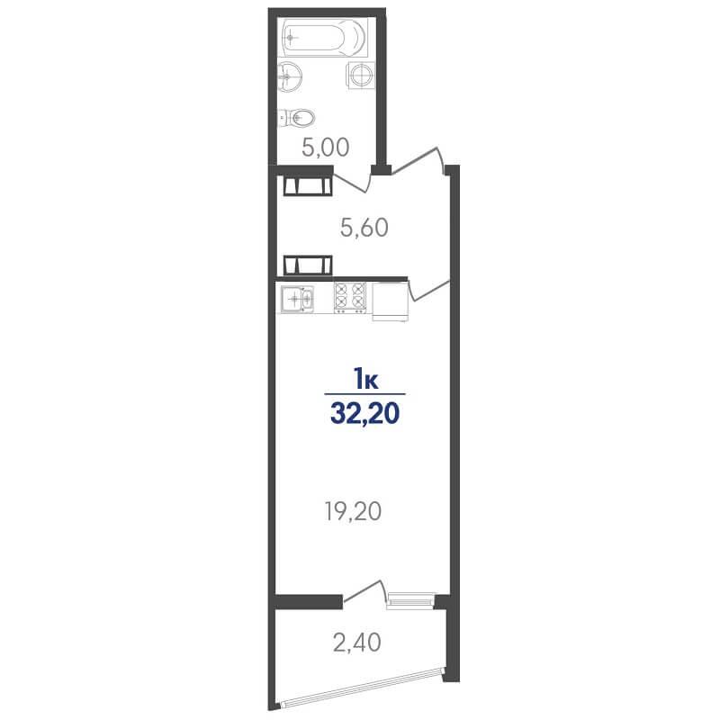 Планировка студии, S = 32,20 / 19,20 м²
