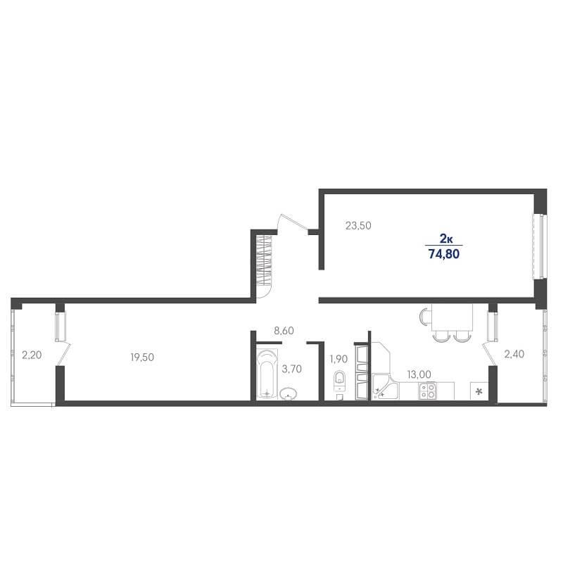 Планировка 2-к. кв., S = 74,80 / 43,00 м² - Тип 2