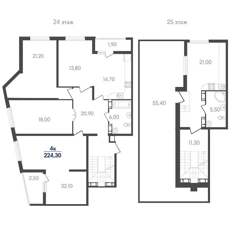 Планировка пентхауса, S = 224,30 м²