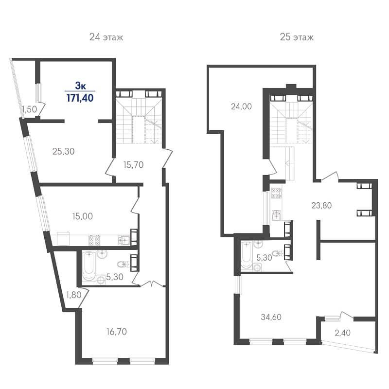 Планировка пентхауса, S = 171,40 м²