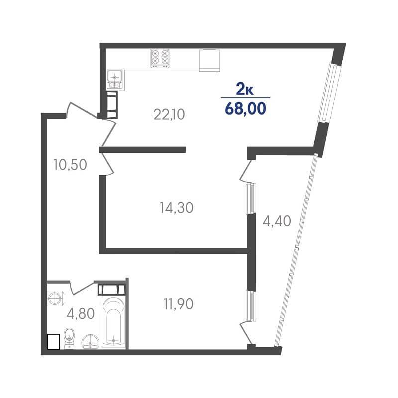 Планировка 2-к. кв., S = 68,00 / 26,20 м²