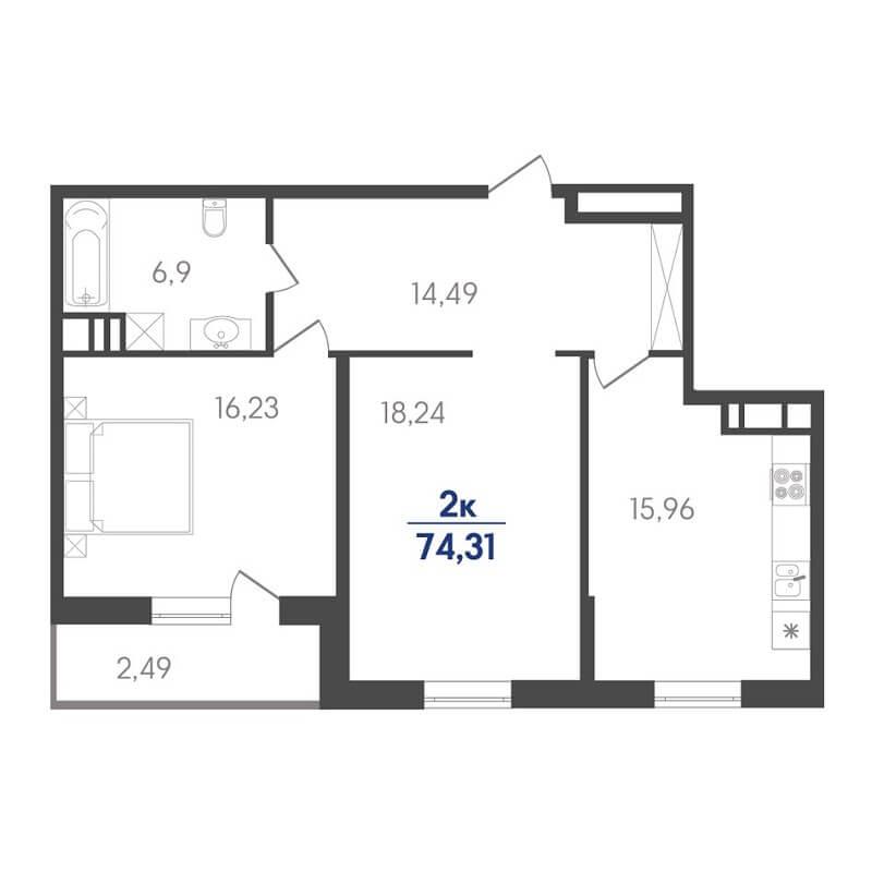 Планировка 2-к. кв., S = 74,31 / 34,47 м² - Тип 2