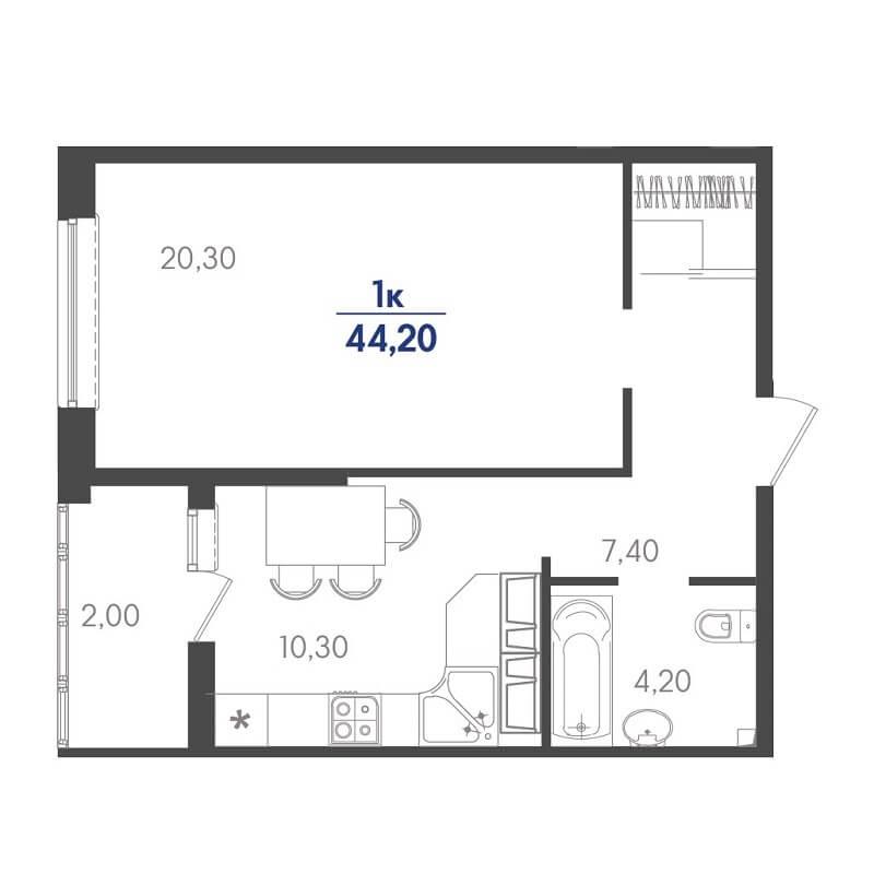 Планировка 1-к. кв., S = 44,20 / 20,30 м²