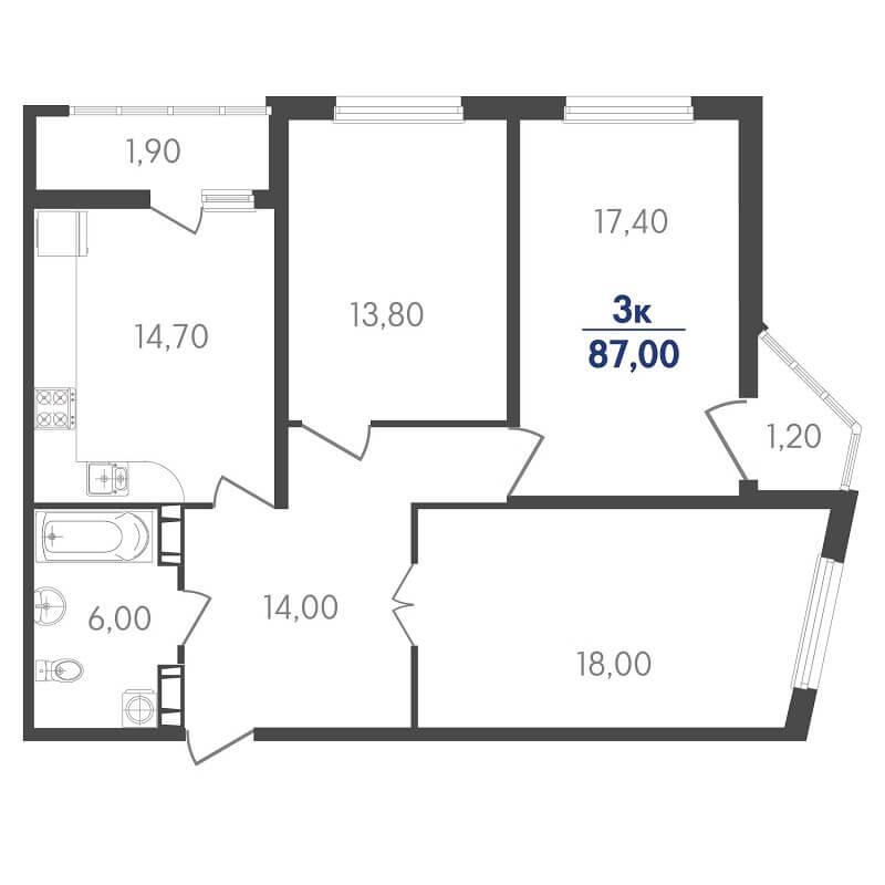 Планировка 3-к. кв., S = 87,00 / 49,20 м² - Тип 2