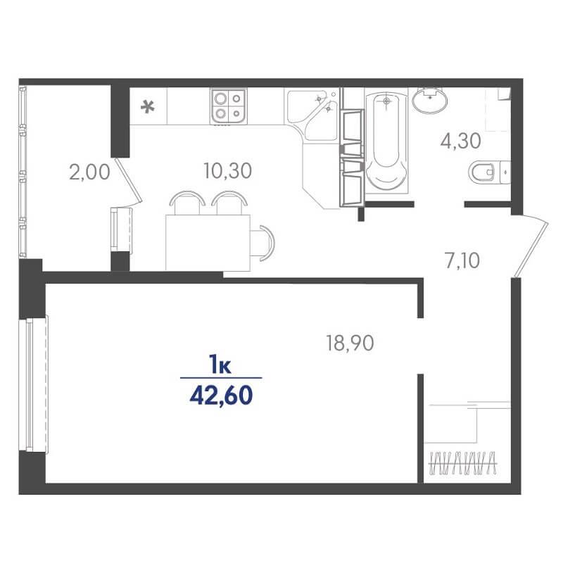 Планировка 1-к. кв., S = 42,60 / 18,90 м²