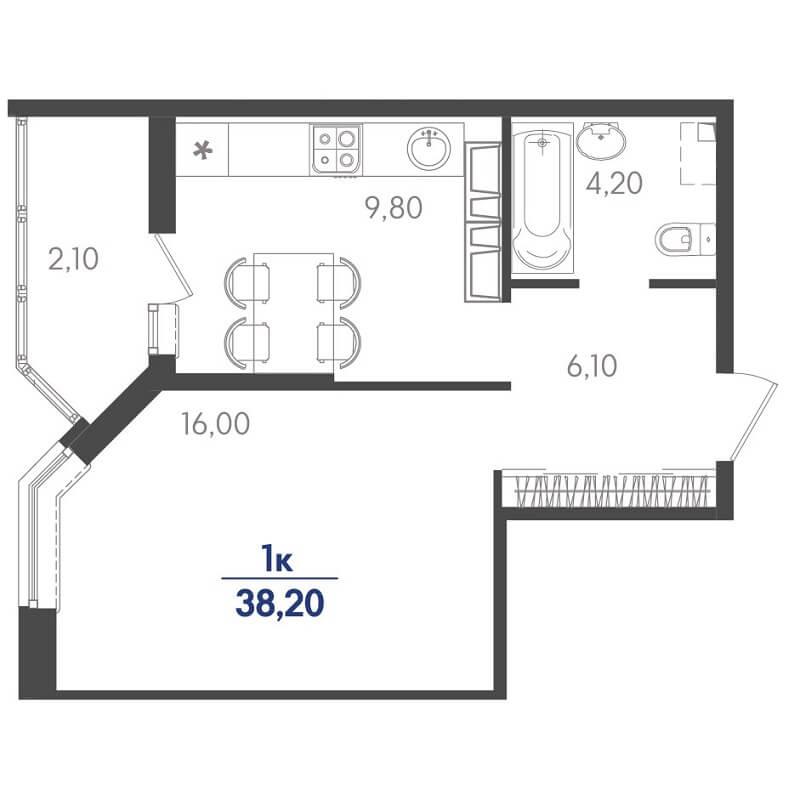 Планировка 1-к. кв., S = 38,20 / 16,00 м²