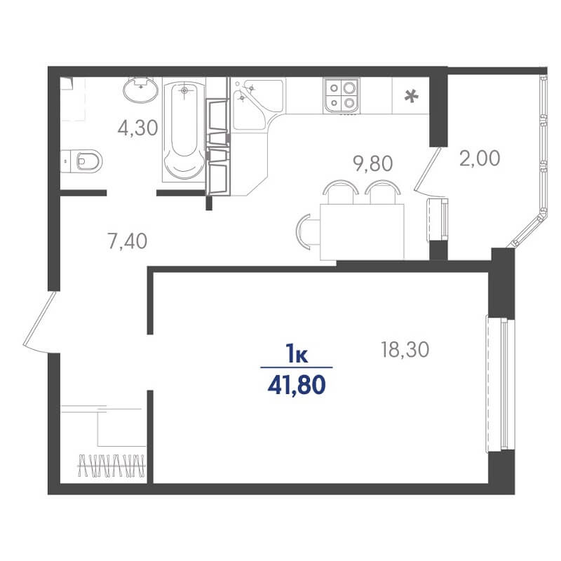 Планировка 1-к. кв., S = 41,80 / 18,30 м²