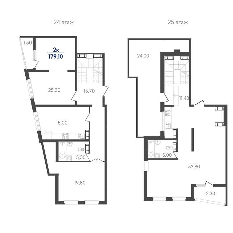 Планировка пентхауса, S = 179,10 м²