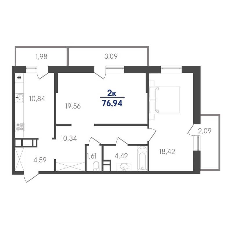 Планировка 2-к. кв., S = 76,94 / 37,98 м² - Тип 2
