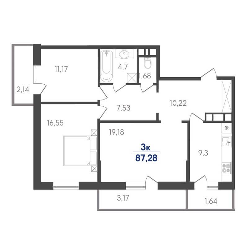 Планировка 3-к. кв., S = 87,28 / 46,90 м² - Тип 2
