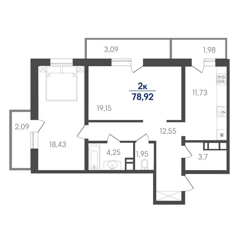 Планировка 2-к. кв., S = 78,92 / 37,58 м²