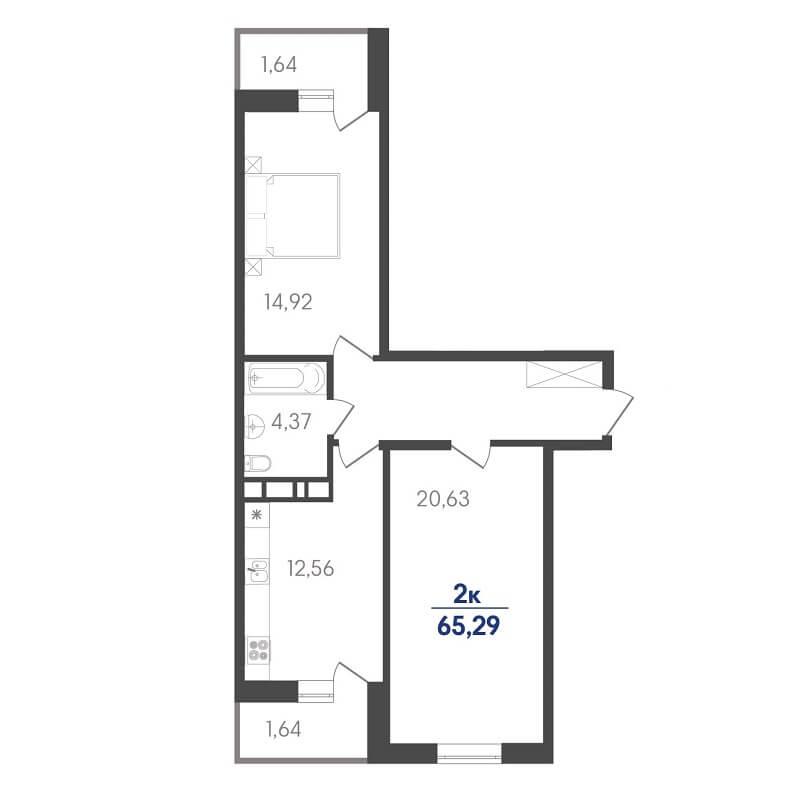 "Планировка 2-к. кв., S = 65,29 / 27,48 м² - ""Бабочка"" Тип 2"