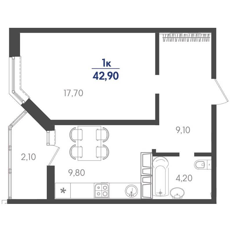 Планировка 1-к. кв., S = 42,90 / 17,70 м²