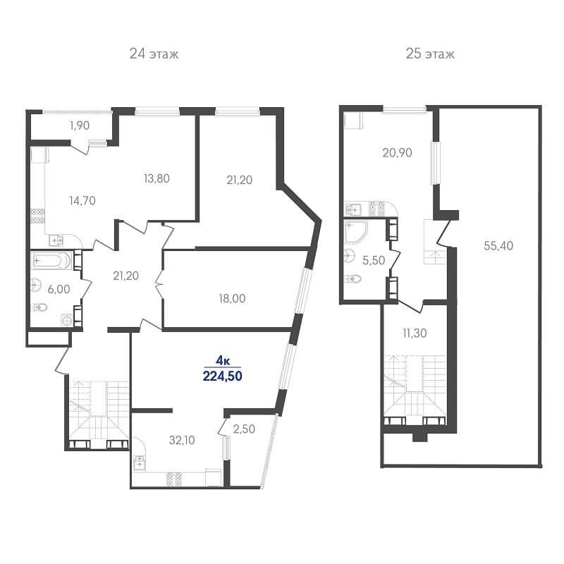 Планировка пентхауса, S = 224,50 м²