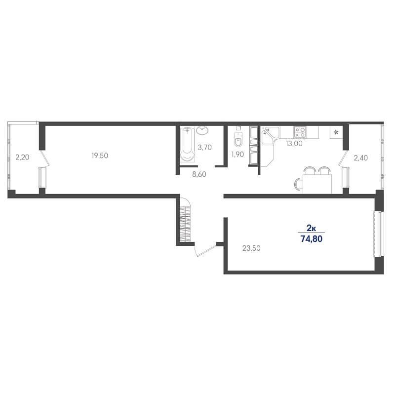 Планировка 2-к. кв., S = 74,80 / 43,00 м²