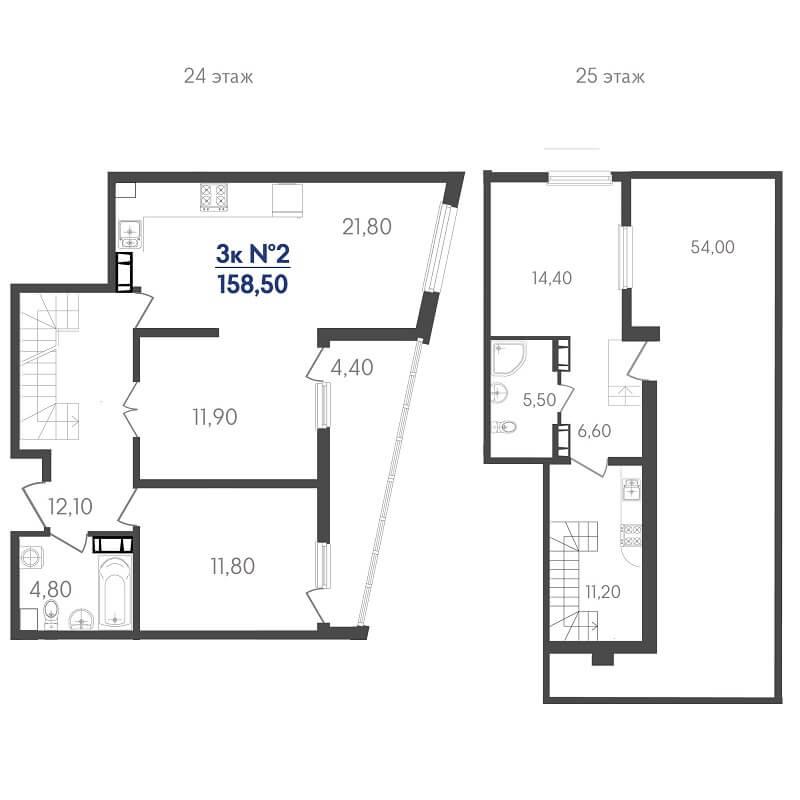 Планировка пентхауса, S = 158,50 м²