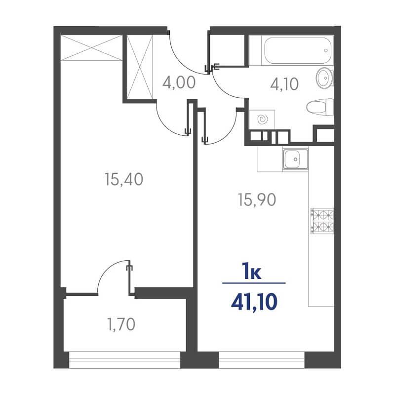 Планировка 1-к. кв., S = 41,10 / 15,40 м²