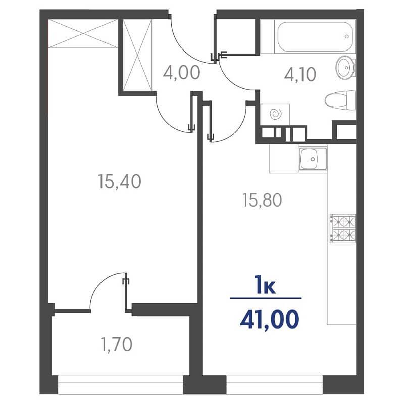 Планировка 1-к. кв., S = 41,00 / 15,40 м² - Тип 2
