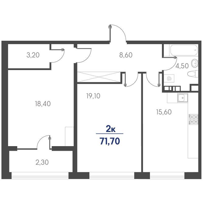 Планировка 2-к. кв., S = 71,70 / 37,50 м²