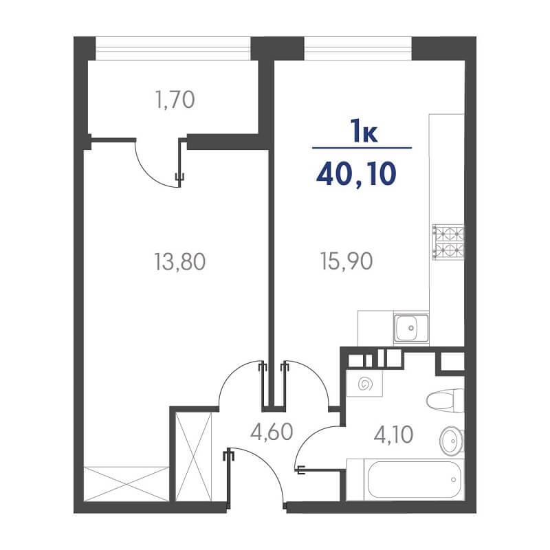 Планировка 1-к. кв., S = 40,10 / 13,80 м²