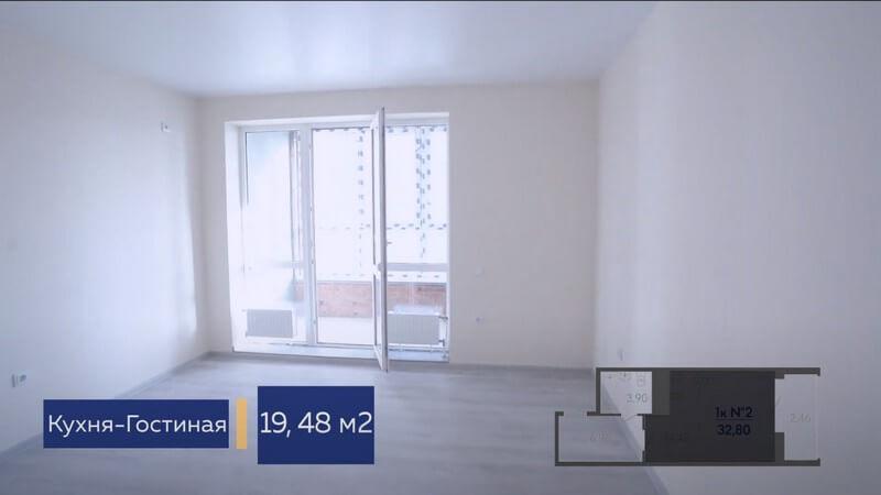 Планировка кухни гостиной квартиры студии Форт Адмирал 4 литер 13 этаж 32,80 кв.м.
