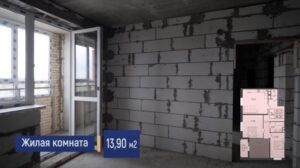 Фото жилой комнаты 13 м2 с балконом