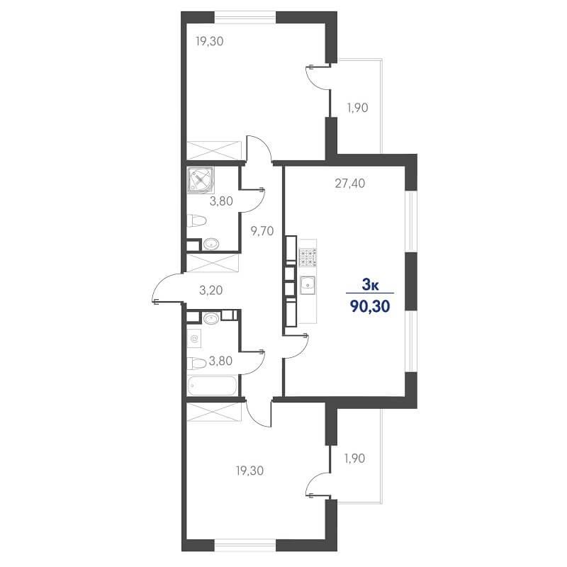 Планировка 3-к. кв., S = 90,30 / 66,00 м²